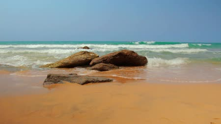 přímořská krajina : Calm exotic seashore - Seascape with orange sand and blue water