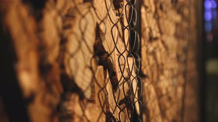 sawn : Stack of brown wood logs. Stock Footage