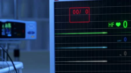 er : Cinemagraph of pulse checking E.C.G Monitor. Monitor that shows a lack of palpitations. Cold atmosphere.