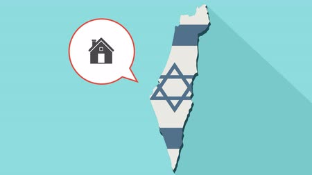 brasão : Animation of a long shadow Israel map with its flag and a comic balloon with a house