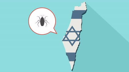 rodent control : Animation of a long shadow Israel map with its flag and a comic balloon with a cockroach Stock Footage
