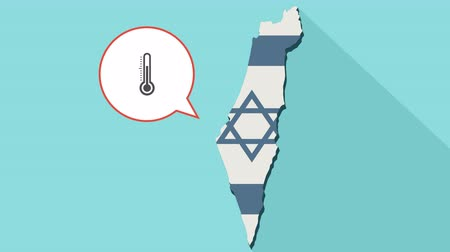 temp : Animation of a long shadow Israel map with its flag and a comic balloon with a thermometer icon Stock Footage