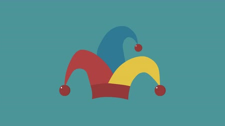 hamis : Clown jester hat flat design animation icon. loop with alpha channel.