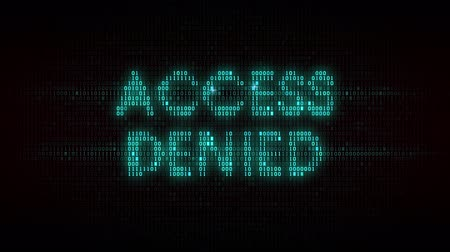 hozzáférés : The words access denied consisting of binary code, the result of the operation access control system Stock mozgókép