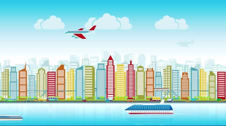Colorful city skyline with traffic of various vehicles train airplane car ship in flat style, cityscape. Background, seamless loop