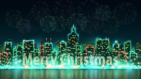 City skyline silhouette with animated windows, illuminated in the form of an inscription Merry Christmas, background with fireworks, seamless loop