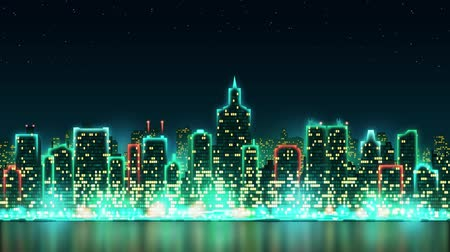 light : City skyline silhouette with animated windows, illuminated in the form of an inscription Merry Christmas, background with fireworks, seamless loop