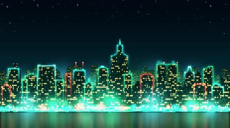 City night skyline with bright lights and animated windows on the background of the starry sky, seamless loop