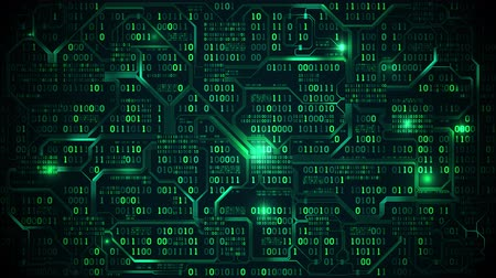 Abstract futuristic electronic circuit board with binary code, neural network and big data - an element of artificial intelligence, matrix background with digits, seamless loop