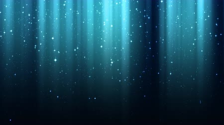 Empty dark blue background with rays of light, sparkles, night shining starry sky, seamless loop