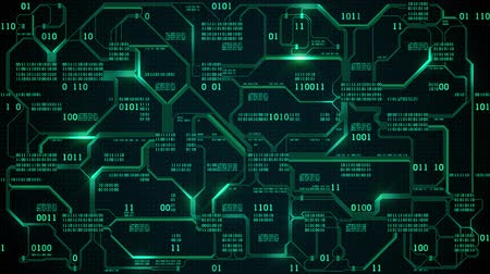 Abstract futuristic electronic circuit board with binary code, neural network and big data