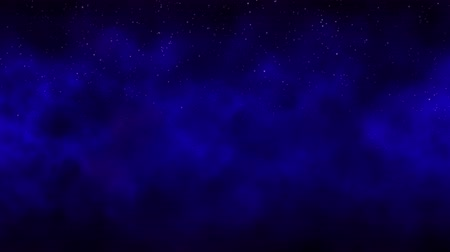 Smoke in the night starry sky, a dark blue cosmic background with stars, moving smoke Stock mozgókép