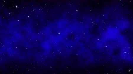 Night starry sky, dark blue dynamic cosmic background with bright flickering stars, moving nebula, seamless loop