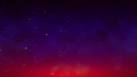 Flying sparks and smoke in the night sky, dark blue sky background with bright sparks, burning embers moving along with the smoke, a seamless loop Stock mozgókép