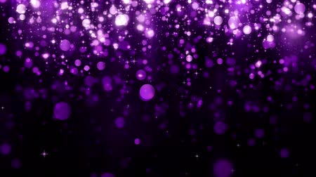 Background with glitter falling purple particles and bokeh. Holiday design. Falling shiny particle with magic light. Beautiful light background. Seamless loop