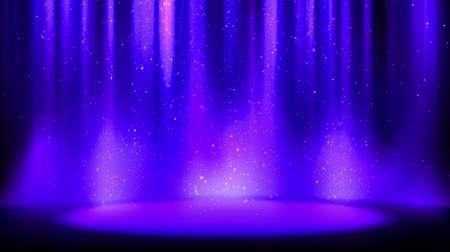Spotlight, falling shiny sparkling particles. Indigo background with soft glow, divine radiance. Seamless loop