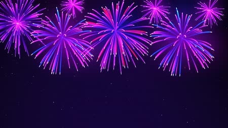 estrelado : Colorful fireworks on a dark blue background. Bright fireworks in the night sky with stars. Beautiful festive sky for bright design. Animated background, seamless loop