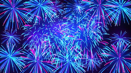 Colorful fireworks in the night sky with stars. Bright fireworks on a dark blue background. Beautiful festive sky for bright design. Animated background, seamless loop Stock mozgókép