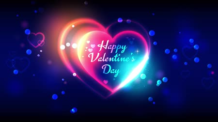 si přeje : Happy valentines day animated greeting cards. Blue and golden shine. Valentines day animation background. 4k video. Bright multi-colored heart shape on dark bokeh background