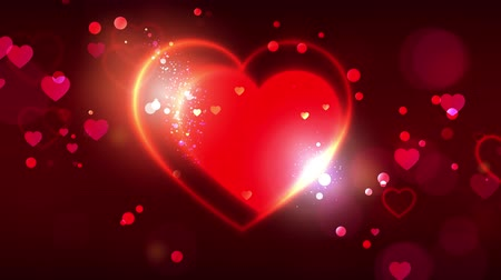 Valentines day animation background. Happy valentines day animated greeting cards. Bright red gold heart shape on dark bokeh background. Red and gold particles. 4k video