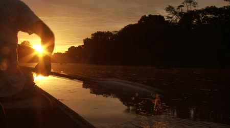 kano : Paddeling With Canoe On The Amazon River in front of the sunset, South America, Peru Stok Video