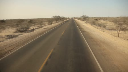 point of view pov : Driving In Desert On Panamericana, Peru Stock Footage