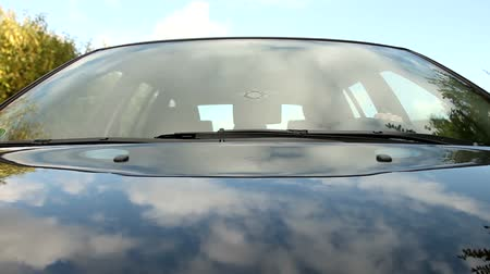 kaput : On-board camera on bonnet of car with nice reflection Stok Video