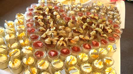 flan : video footage of a nice desert on a wedding Stock Footage