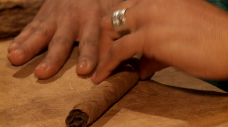 прокатка : video footage of a woman in cuba who manufacts a cigar