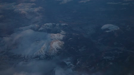 брезент : video footage of a flying airplane over Spain Mountains in Europe from France to.