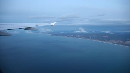 брезент : video footage of a flight ove the coastline in spain