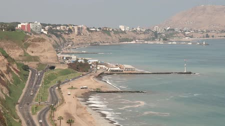 sicília : video footage of the coastline in the city of Lia, Peru with the pacific ocean