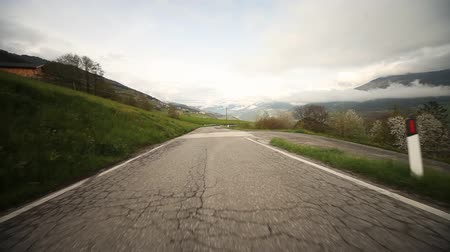 ausztria : POV Video footage of driving on a countryroad in south tyrol, Italy