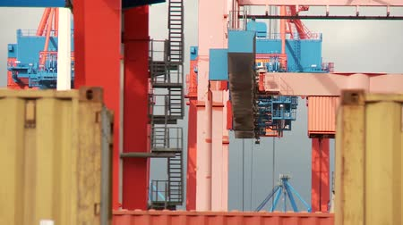 globalização : video footage of containers in Hamburg