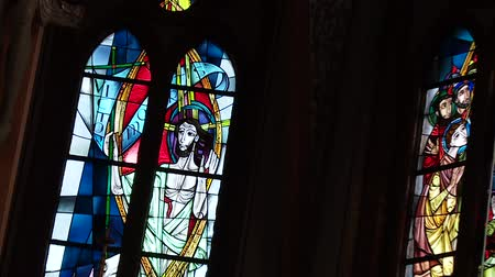 freska : video Footage of a stained-glass window in a church