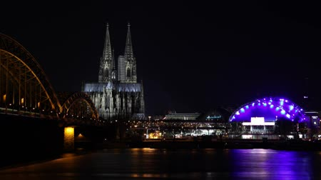 köln : video footage of cologne at night
