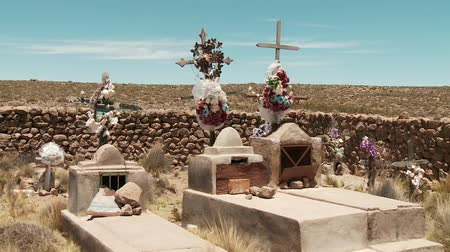 churchyard : Small Cemetery in the Andes of Peru Stock Footage