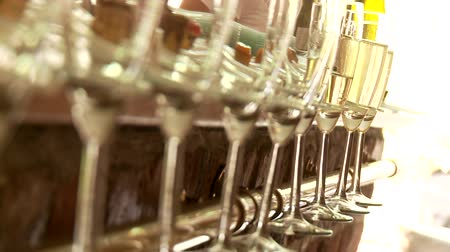 sparkling drink : video footage of sparkling wine glasses