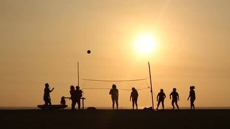 друзья : video footage people playing Beachvolleyball in the sunset Стоковые видеозаписи