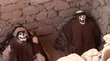 могила : video fotage of mummys of the Nazca Culture of the old Peru at the Chauchilla Cemetery in Nasca
