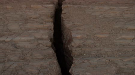 földrengés : video footage of a cracked surface after the earthquake in 2007 in Peru in the Paracas National Park