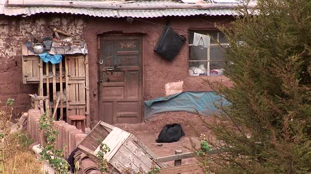 neediness : video footage huts in slums in in Cuscu, Peru. October 2007