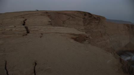 crevice : Destroyed Cathedral Rock formations in Peru Paracas National Park after the earthqake Stock Footage