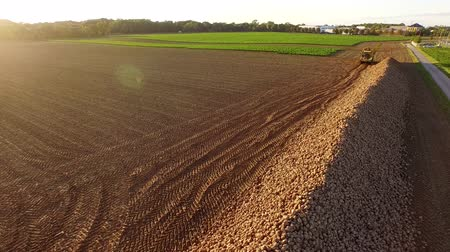 Aerial video of harvesting a sugar beet field in germany
