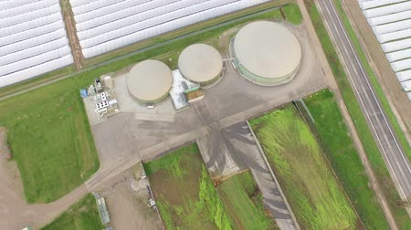 aerial video footage of a biogas plant in germany