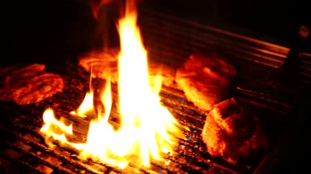 culinary : video footage of a barbeque with fire