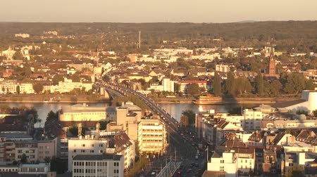 citylandscape : video footage of a panoramic view of Bonn and the river Rhine. Germany