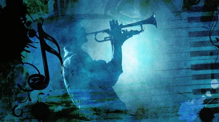 saxofone : Jazz Blue features a scene with a blue grunge feel and music theme with various music symbols animating in and out of frame with an almost silhouette of a man playing a horn instrument in the center