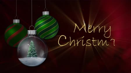 atmosféra : Green Ornaments Red Cloth Merry Christmas 4K Loop features animated Christmas ornaments swinging slowly with a blowing red cloth and particle background and hand written Merry Christmas text