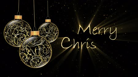 filigrana : Golden Ornaments Merry Christmas 4K features golden filigree Christmas ornaments rotating and a black background with golden flecks of snow falling and an animated Merry Christmas message